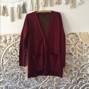 Merino Wool Double-Knit Long Cardigan Sweater